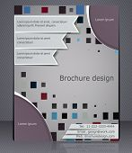 Layout Business Brochure. Abstract Template With Elements Of Squares