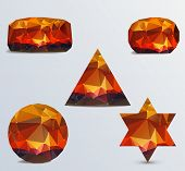 Set of geometric stones on a light background