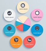 Infographics Circles With Flat Icons On Light Background
