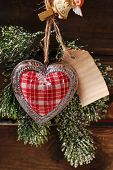 Christmas Card With Vintage Heart And Papar Tag