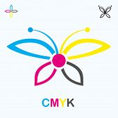 Cmyk Icon In Form Of Butterfly