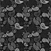 Vector hand drawn paisley seamless pattern