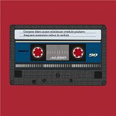 Retro audio cassette. Vintage color. Vector tape