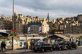 Taxis Parked In Edinburgh, Scotland
