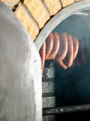 Traditional Food. Smoked Sausuages In Smokehouse.