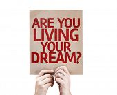 Are You Living Your Dream? card isolated on white background