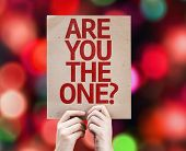 Are You The One? card with colorful background with defocused lights