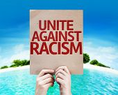 Unite Against Racism card with a beach on background