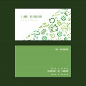 Vector ecology symbols horizontal corner frame pattern business cards set