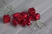 Red Christmas Ornaments with Baby's Breath