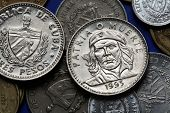 ������, ������: Coins of Cuba Cuban national hero Ernesto Che Guevara depicted in the Cuban three peso coin