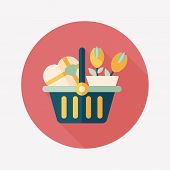Valentine's Day Present Bucket Flat Icon With Long Shadow,eps10