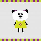 image of panda  - Cartoon panda girl card - JPG