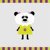 Cartoon Panda Girl Card Flat Design