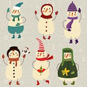 Six Cute Funny Snowmans. Cartoon Vector Set  In Childish Style.concept Card In Retro Colors