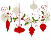 Variety of Christmas baubles with flourish