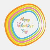 Rainbow Abstract Round Curve Frame Template With Text. Flat Design. Happy Valentines Day Card