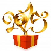 Vector golden ribbon in the shape of 2015 and gift box. Symbol of New Year