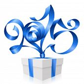 Vector blue ribbon in the shape of 2015 and gift box. Symbol of New Year