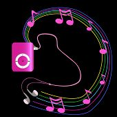 Real Pink Mp3 Player With Headphones On Black Background.  Vector