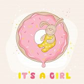 Baby Bunny on a Donut - Baby Shower or Arrival Card - in vector