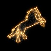 Magic Shiny Golden Horse. Connected Dots