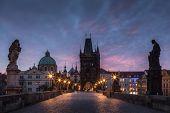 Prague. Charles Bridge At Red Dawn