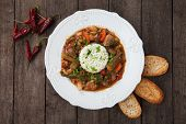 Pork, okra and vegetable gumbo, classic cajun cuisine