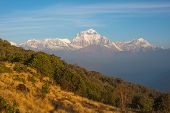 Snow mountain landscape in Nepal (Poonhill)