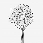 Black and white abstract tree. Hand drawn tree symbol. Tree icon