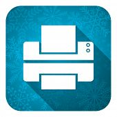 printer flat icon, christmas button, print sign