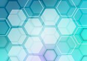 Abstract blue background with shape hexagons.