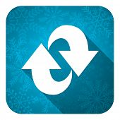 rotation flat icon, christmas button, refresh sign