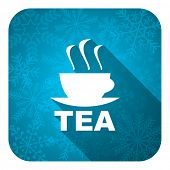 tea flat icon, christmas button, hot cup of tea sign