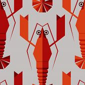 Seamless abstract vector pattern with geometric lobsters.