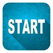 start flat icon, christmas button