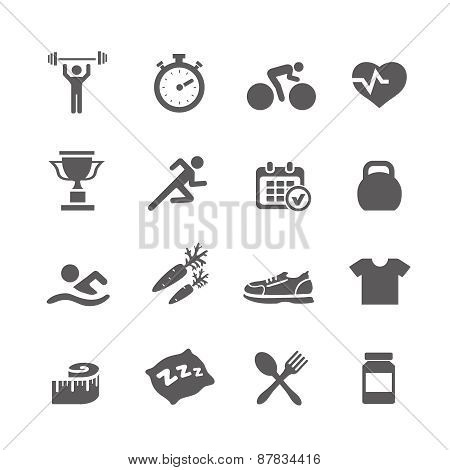 Health and Fitness icons vector set icons with a stopwatch bodybuilder weights dumbbells heart  puls
