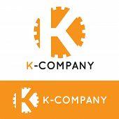 foto of letter k  - Vector modern minimalistic orange K letter logotype - JPG