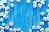 stock photo of candy  - color marshmallows on the wooden table color candy - JPG