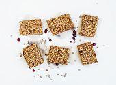 stock photo of oats  - Healthy oat granola bars on white background - JPG