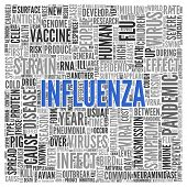 foto of influenza  - Close up INFLUENZA Text at the Center of Word Tag Cloud on White Background - JPG