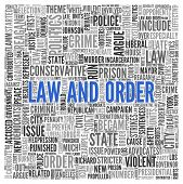 stock photo of law order  - Close up Blue LAW AND ORDER Text at the Center of Word Tag Cloud on White Background - JPG