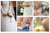 stock photo of debonair  - collage maded of few photos of bride body parts - JPG