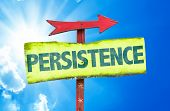 stock photo of persistence  - Persistence sign with sky background - JPG