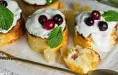 foto of curd  - Curd pudding with candied fruit and fresh berries - JPG