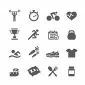 stock photo of stopwatch  - Health and Fitness icons  vector set icons with a stopwatch bodybuilder weights dumbbells heart with pulse trainer shoes bottled water - JPG