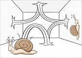 stock photo of bounce house  - vector illustration of a bouncing snail in a room - JPG