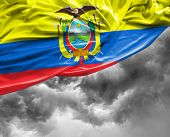 picture of guayaquil  - Ecuadorian waving flag on a bad background - JPG