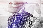 picture of gaucho  - Bearded Cowboy Farmer with Acoustic Blues Guitar and Straw Hat on Western American Horse Ranch Double Exposure Image - JPG