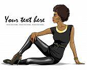picture of leggins  - Portrait of beautiful black woman - JPG